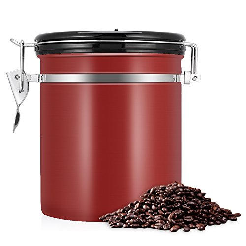Koffie Canister, Luchtdichte RVS Opslag Container voedsel opslag pot met Datum Tracker voor Keuken Voedsel Suiker Thee Koffiebonen Rood