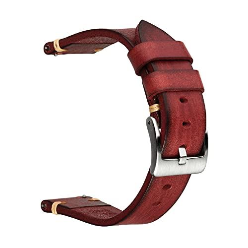 Berfine - Cinturino per orologio da polso in stile retrò, fatto a mano, a sgancio rapido, in pelle vintage, larghezza 18 mm, larghezza 20 mm, 22 mm, 24 mm o 26 mm, 20mm, Pelle Acciaio inossidabile,
