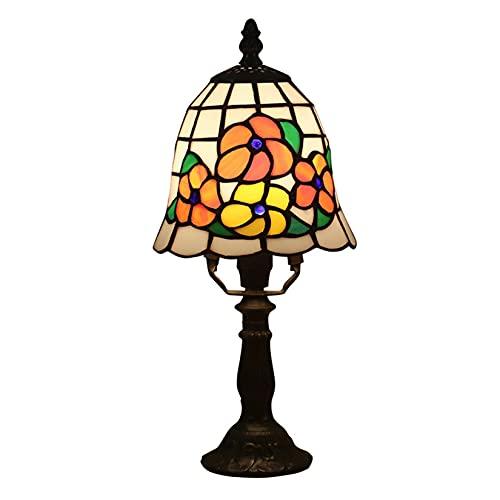 Lámpara De Mini Acento Pastoral De 6 Pulgadas, Mesa De Lámpara De Azulejos De Estilo Tiffany