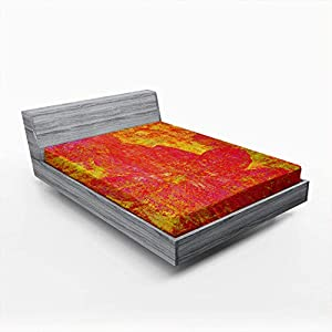 Silk Flower Arrangements Auwenhh Bedding Fitted Sheet Only Red Artificial Abstract Painting Cosmos Flower Colorful Artistic Bloom Deep Pockets Soft Brushed Microfiber Wrinkle and Fade Resistant Easy Care Twin XL