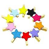 Qinlee 50Unidades Madera Papel fotográfico Clips Ropa Clips Mini Multicolor Madera Pinzas Pinzas Clips para Colgar Fotos Hecho a Mano DIY de (Color Azar), Madera, Diseño de Estrellas, 3.0x0.4cm