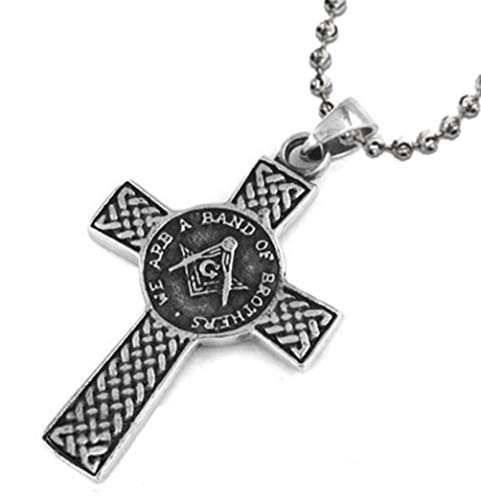 Freemason Pendant/Masonic Celtic Cross Necklace - We are a Band of Brothers - Stainless Steel with Chain (Cross Pendant)