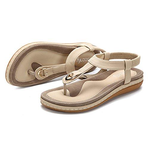 gracosy Sandalias Planas de Verano para Mujer Casual Rhinestone Bohemia Baja Chanclas con Clip Clip en Chancletas, Patrón con Chanclas elásticas Zapato en t-Casual Zapatos de Playa para Mujer