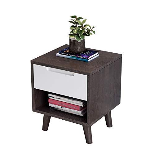 Table pliante YANFEI, Table de Chevet à 2 Niveaux avec Armoire en Bois Massif, Couleur Bois (Couleur : B)