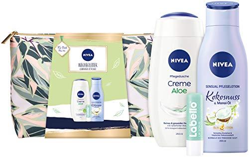NIVEA Wegbegleiter Geschenkset, Set mit Kulturtasche, Pflegedusche, Body Lotion und Labello Lip Scrub, Pflegeset voller Verwöhnmomente zum Verschenken
