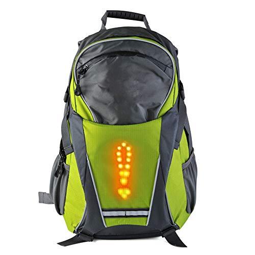 MJW LED Clignotant Sac À Dos Sac À Dos, Vélo sans Fil Télécommande LED Avertissement Sac À Dos, Vélo Étanche Extérieur/Course À Pied/Marche 18L,Green