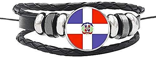 ZGYFJCH Co.,ltd Collar Clásico Bahamas Panamá Cuba Haití América Central Bandera Nacional Pulsera Cuerda de Cuero Botones de cúpula de Vidrio Brazalete