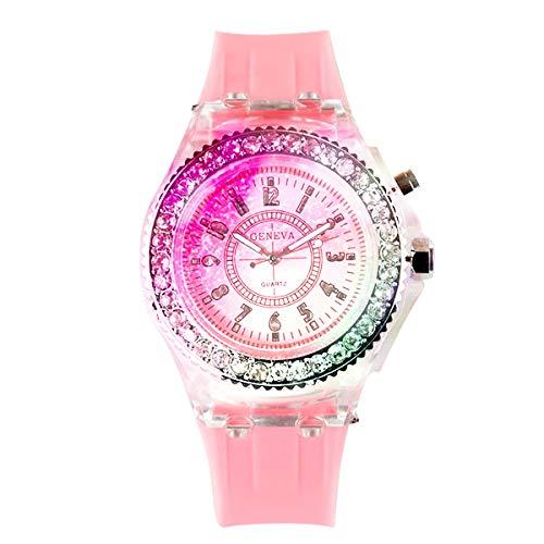 BEAYPINE Silikonarmbanduhr, für Paare, Leuchtet aktiviert, Leuchtet auf, für Kinder, Multifunktionale Sport-Armbanduhren, Rose, as Shown