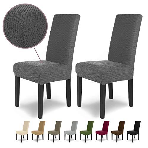 SCHEFFLER-Home Luna 2 Fundas de sillas, Estirable Cubiertas, Chenilla extraíble Funda con Banda elástica, Antracita
