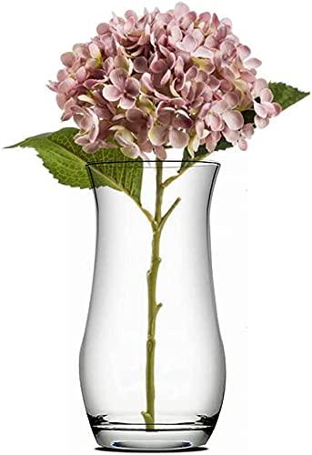 Unishop Jarrón de Flores de Cristal, Florero de Vidrio de 21 cm de Alto, Elegante y Sofisticado