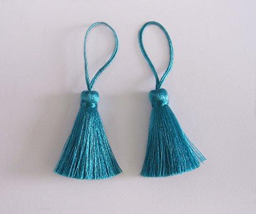 Cyan Tassel Silk Dangling Trim Fringe Jewelry Making Fashion Earrings Sewing Craft Supply 2 Pieces