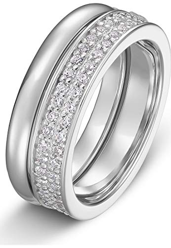 JETTE Damen-Damenring Zirkonia 55 Silber 32010181