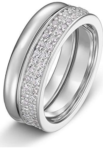 JETTE Silver Damen-Damenring 925er Silber 57 Silber 32010181