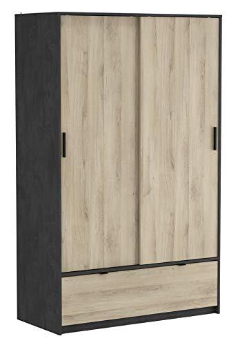 DEMEYERE Armario ropero 2 Puertas correderas 1 Cajon habitacion Dormitorio vestidor Estilo Industrial 193x120x55 cm