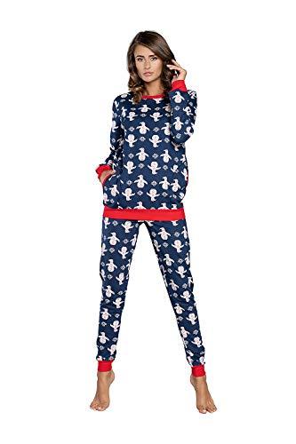 Pyjama long 2020 - Pour femme et fille - En coton - Chaud - Modèle automne et hiver - Bleu - Large