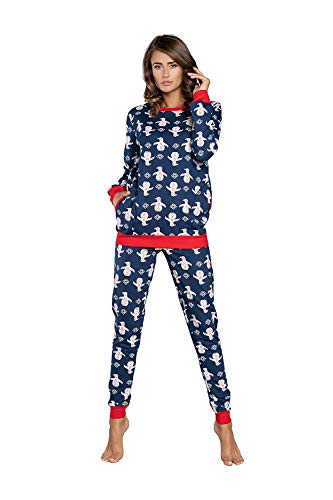 Damen Schlafanzug aus Baumwolle, Ladies' Pyjama Set Long-Sleeved, Checked Pyjama Set, Night Wear, Soft and warm (L, Dunkelblau)