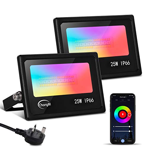 LED Flood Lights Outdoor, 25W RGB Smart WiFi Floodlight APP/Voice Control, Colour Changing RGB 16 Million Colours - Music Sync for Alexa Google Home IP66 UK 3-Plug 2 Pack