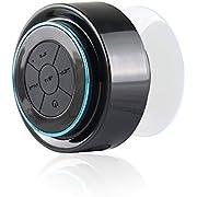 Expower IPX7 Wasserdicht Bluetooth Stereo Lautsprecher Duschen Lautpsrecher für Smartphone, Integrierte Mikrofon,3.5mm AUX in (schwarz mit blau)