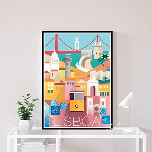 Cartel De Paisaje De Ciudades De Viaje Vintage De Lisboa, Lienzo Impreso En HD, Pintura Artística, Cuadro De Pared, Decoración del Hogar, Sala De Estar, 40X50Cm Cdl-1263