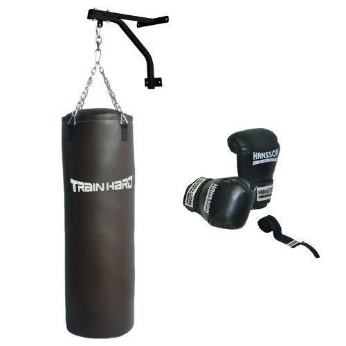 Hansson.Sports Boxsack Sandsack gefüllt 30KG 100cm m. Wandhalter Boxhandschuhe 14OZ Bandage