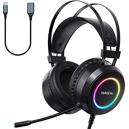 Targeal Auriculares para videojuegos para PS4 PC Mobile, auriculares de gaming con sonido envolvente 7,1, micrófono de cancelación de ruido, luz RGB multicolor, para portátil, Mac y tablet (negro)