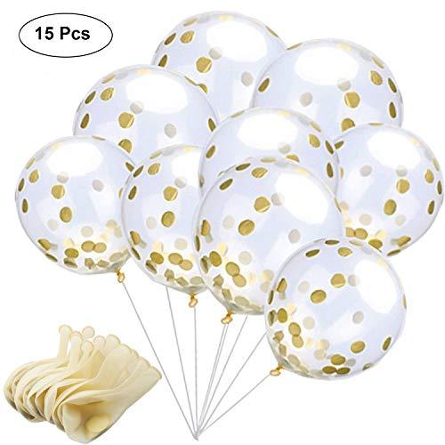 AmeiTech Gold Konfetti Ballons, 12 Zoll Klare Latex Party Ballons mit Goldenen Papier Konfetti Punkte für Geburtstag, Hochzeit oder Party Dekorationen (15 Stück) (goldene Ballons)