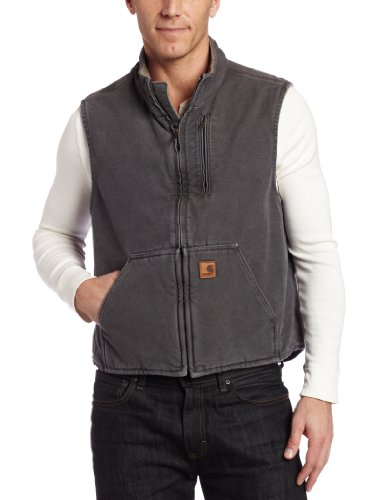 Carhartt Men's Mock Neck Vest Sherpa Lining ,Gravel,2X-Large