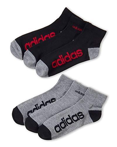 Adidas Men's 3-Pack Climalite Moisture Wicking Quarter Performance Socks (Shoe Size 6-12) BLACK (Black/Grey)