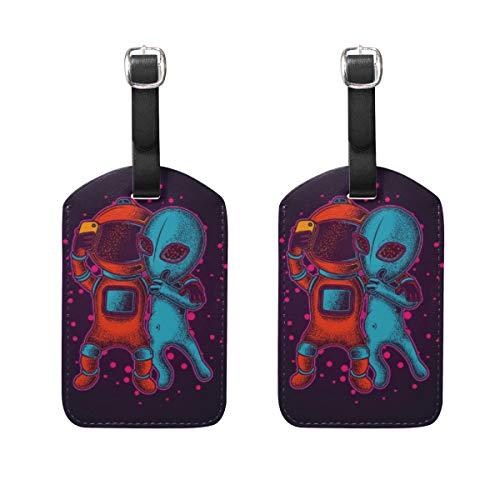 Gepäckanhänger, Motiv: Roboter und Aliens, 2 Stück, tragbare Kennzeichnung, kariert, Adress-/Namensschilder, Reisezubehör für Reisetasche