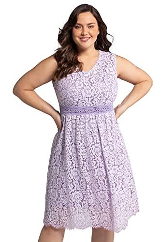 Ulla Popken Damen große Größen Übergrößen Plus Size Spitzenkleid, ärmellos, Zierborte, Jersey-Unterkleid blaues Flieder 44 727185810-44