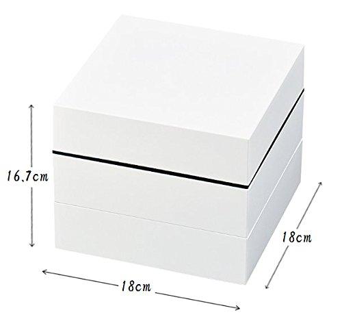 正和重箱オードブル三段シール蓋ホワイト約縦18×横18×高さ16.7cmおしゃれ運動会お花見ピクニックお正月おせち料理