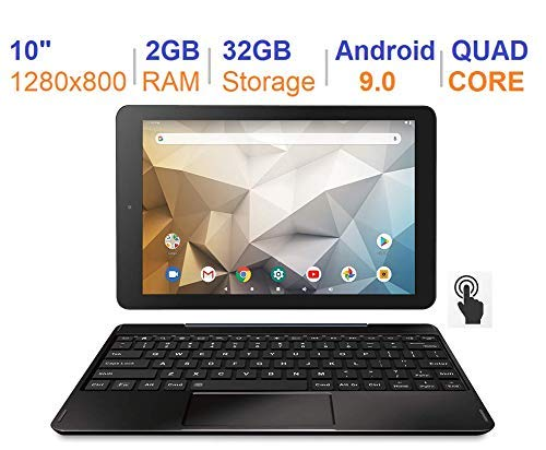 small RCA Atlas 10 Pro (RCT6B06P23H) 10-inch Android 9 tablet, black keyboard (updated)