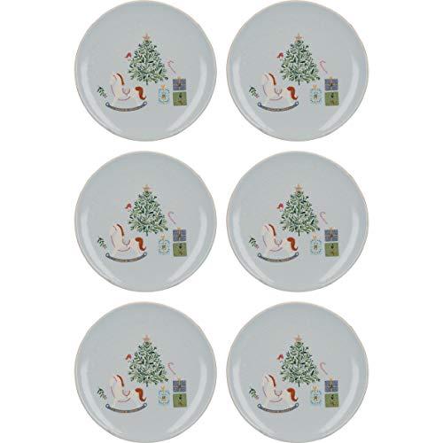 KitchenCraft The Nutcracker Collection Set di piatti natalizi, Ceramica, 17 cm, 6 Pieces