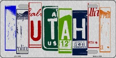 Bargain World Utah License Plate Art Brushed Aluminum Metal Novelty License Plate (With Sticky Notes)