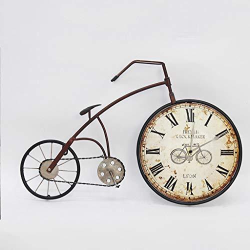 Reloj de Pared de Hierro Forjado/Reloj de Pared para Bicicleta, decoración del hogar, Reloj de Arte Vintage, Apto para Sala de Estar, Bar, Entrada (59 × 38,5 cm)