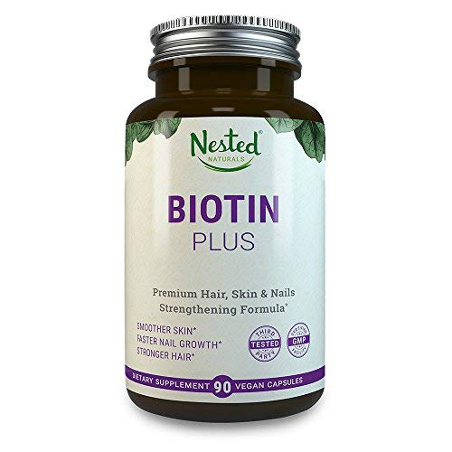 Biotin Plus from IntraNaturals, 90 Vegetarian Capsules, Advanced Hair, Skin, & Nails Complex Containing 5,000mcg of Biotin + Vitamins C, E, B3, B6, and B12 - Non-GMO - Lifetime Guarantee