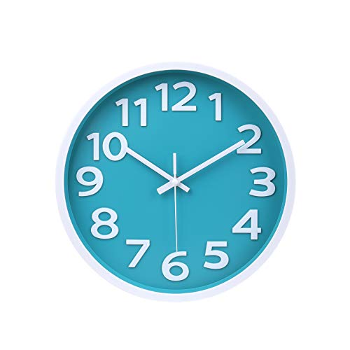 Wall Clock - 12 Inch Modern Large 3D Numbers Easy to Read Round Wall Clock Silent Non-Ticking Battery Operated Teal Color Decor Clock for Living Room / Office / Bedroom