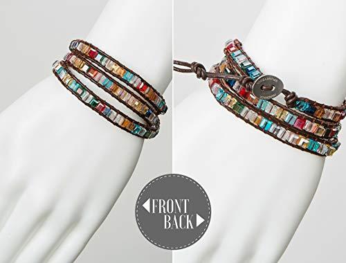 SPUNKYsoul 3 Wrap Dazzling Multi Color Crystal Leather Bracelet Collection