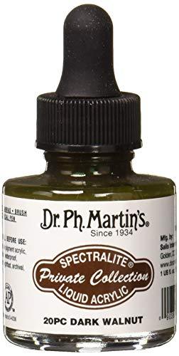 Dr. Ph. Martin's SPEC10OZS20PC Spectralite Private Collection Liquid Acrylics (20PC) Arcylic Paint Bottle, 1.0 oz, Dark Walnut