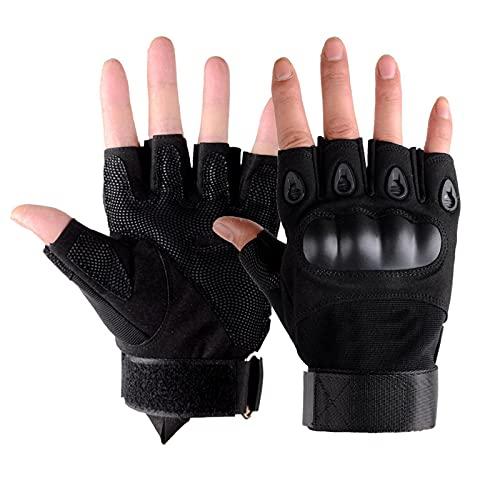 Guantes al aire libre para hombres Airsoft Guantes antideslizantes para Caza Ciclismo Tiro Medio Dedo Deporte Sin Dedos (Negro)