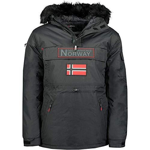 Geographical Norway BRUNO MEN - Herren Warm Wasserdicht Anziehparka - Mantel Dicke Kapuze Pelz Outdoor - Warme Winddichte Jacke Winter Outdoor Futter - Jacke Herren SCHWARZ XL