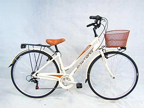 bicicletta donna bici da passeggio 28 city bike trekking telaio in alluminio (beige)