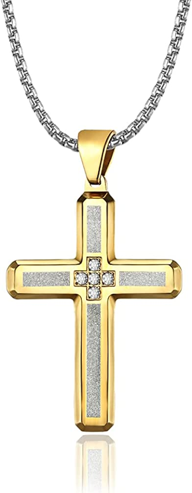 JO WISDOM Cross Necklace 316L Stainless Steel Religious Cross Pendant Pearl Chain Jewelry for Men and Women