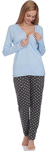Italian Fashion IF Damen Schlafanzug Hydrangea 0223 (Blau-2, S)