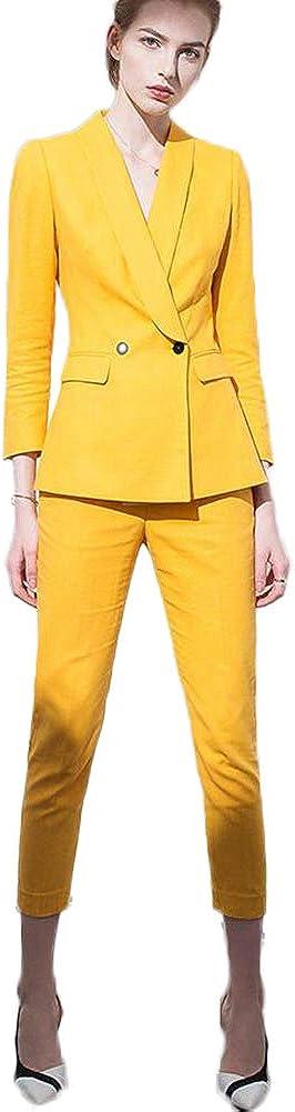 Women's Shawl Lapel 2 Pieces Business Office Suit Set Lady Casual Suit