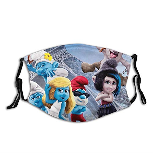 Die Schlümpfe Staub Gesichtsbedeckung Maske Waschbar Mundschutz mit Austauschbarem Filter Aktivkohle Weich Atmungsaktiv Outdoor/Sport/Motor/Radfahren Erwachsene