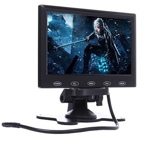YANTAIAN 7.0 Pulgadas 800 * 480 cámaras de vigilancia del Coche Monitor con Soporte de ángulo Ajustable y Control Remoto, Soporte VGA/HDMI/AV (Color : Black)