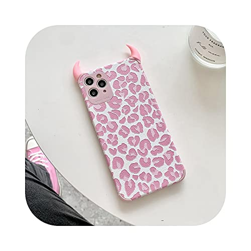 Carcasa para iPhone 12, diseño Devil Horn para iPhone 11 12 Pro 11Pro Max XR X XS 7 8 Plus se 2020, silicona – Pink Leopard-for iPhone se 2020