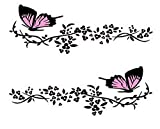 Practisol Car Decals for Women, 1 Set Butterfly Flower Car Decal Stickers, Vinyl Car Side Decal Car Hood Decals for Cars/SUV, Universal Scratch Hidden Car Sticker (Pink)