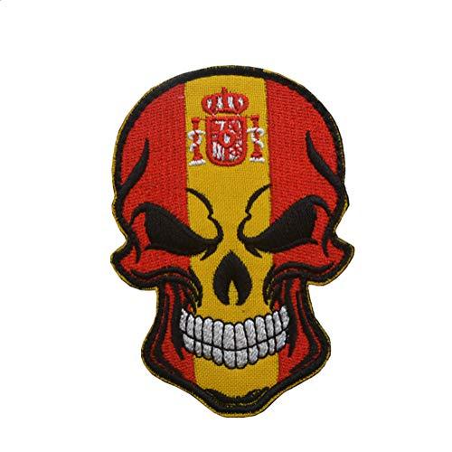 Ohrong Parche bordado con diseño de calavera de España y bandera nacional de España, emblema de España, con gancho y bucle para vaqueros, chaquetas, gorras, bolsas